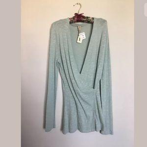 XCVI Thin knit wrap tunic top